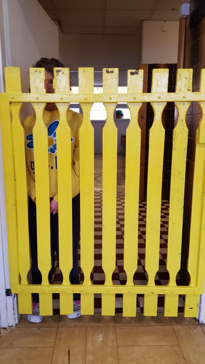 A young woman on Female Ward A behind a wooden fence. (c) MDAC, 18 April 2017.